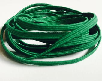 "Green Skinny Elastic - 1/8"" wide Colored Craft & Sewing Elastic - 3mm Thin Green Coloured Elastic Trim - Gentle Stretch for Baby Headband"