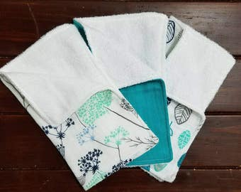 Set of 3 Muslin Burp Cloths- Floral