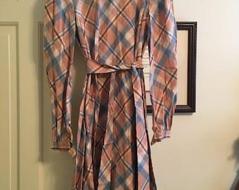 Plaid Cotton 70s Vintage Dress Peach Size XS/S