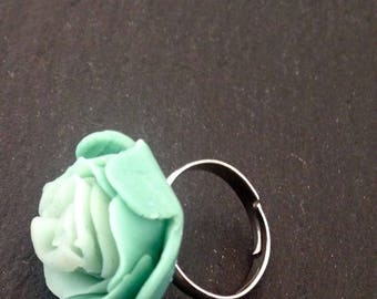 Green Flower Clay Ring