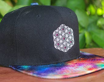 Flower of Life Sacred Geometry Rainbow Space Brim Snapback Hat