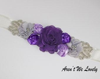 Lilac and purple flower belt, Purple flower belt, purple and silver , purple sash, bridesmaid belt, maternity belt, belt, belts and sashes