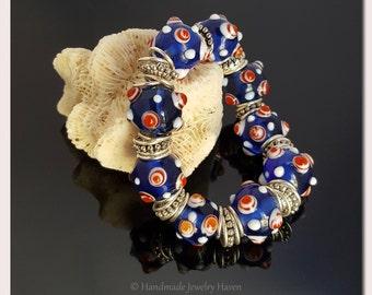 Nautical Jewelry, Lampwork Bracelet, Beaded Bracelet, Blue Jewelry, Handmade Jewelry, Mothers Day Gift, Womens Gift, Patriotic Jewelry