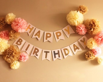 Happy Birthday Pink and Gold Foil Bunting Banner plus 18 Pom Poms in White, Toffee, and Pink