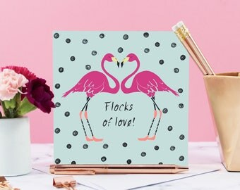 Flamingo Valentine's Card, Flamingo Birthday Card, Flock Of Love, Flamingo Illustration, Flamingo, Valentine's Card, Flamingo Valentines