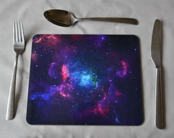 PLACEMAT SET Nebula Small Placemats  - Set of Six, Stylish and Distinctive. Option to Include a Soft Green Placemat Backing 230X190