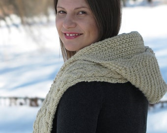 Hand Knitted Wool Scarf with a Hood