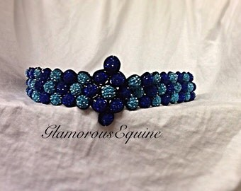 Blue browband , bling browband , sparkly browband , leather browband , show browband , browband , crystal browband , equestrian