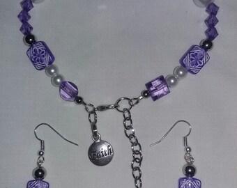 Inspirational Bracelet and Ear Ring Set