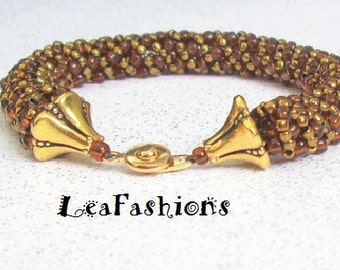 LeaFashion brown and gold color bracelet for women