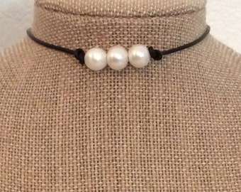 Leather Pearl Choker 3 Pearl Leather Choker Necklace by JL Jewelry & Novelties