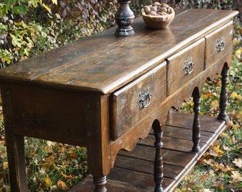 Dresser base made in very old reclaimed oak boards, lovely patina!