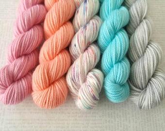GIRL NEXT DOOR - Bite-Size Mini Set of 5 - Hand Dyed Yarn – Fingering Superwash Tonal Yarn