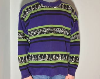 Purple and Green Sweater - Vintage clothing