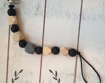 Silicone Pacifier Clip Teether Clip Soother Clip Baby Bite Beads - Black Grey Hardwood
