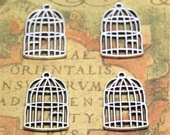 12pcs birdcage Charms Silver Tone 2 sided bird cage charm pendants 26x16mm ASD1924