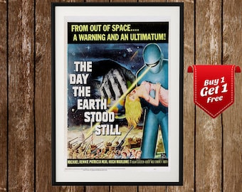 The Day The Earth Stood Still Movie Poster - Sci Fi Movie Print, Gort The Robot, Classic Sci Fi Movie, Movie Decor Vintage Movie Poster