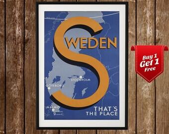 Sweden Vintage Travel Poster - That's the Place, Vintage Sweden, Stockholm, Goteburg, Malmo, Stockholm Art, Scandinavia Print