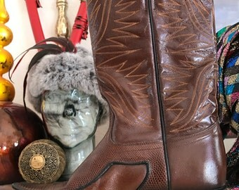Brown Leather Boots by Dan Post, Size 6C Spain
