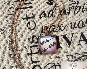 1'x1' Glass Tile Necklace with 23' Bathtub Chain - Two wires, Birds