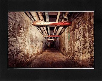 "Custom Matted Print 0310. Abandoned: Marlboro State Mental Hospital, NJ. ""Underground Halls"" - Collectable Photographic Artwork. (11"" x 14"")"