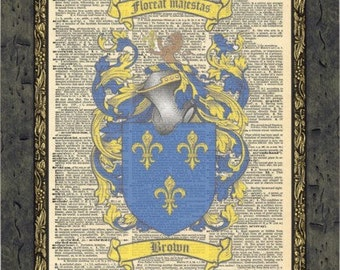 Brown English Family Crests art gift. English Coat of Arms Vintage Prints.