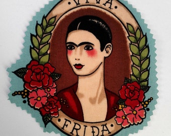 """""""Viva Frida"""" blue patch patch fusible to customize your clothes tattoo old school Frida Kahlo Alexander Henry"""