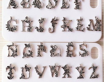 10pcs/lot 13*18mm Vintage Silver Alphabet with Flower Tone Alloy Letters A to Z Pendants Charms Jewelry Finding Supplies