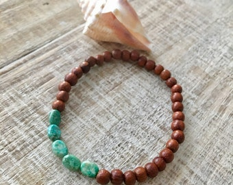 Surfer Bracelet, Beach Bracelet, Boho Jewelry, Turquoise Bracelet, Bayong Bead Wood Bracelet