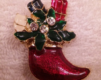 Christmas stocking vintage brooch unmarked