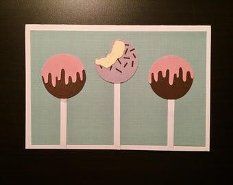 Handmade Greeting Card: Cake Pops