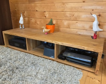 Solid Oak Low TV Stand - Entertainment Unit - Chunky Rustic Style.