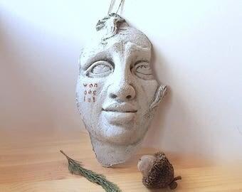 Folk art wall sculpture face, bas relief, primitive art, face sculpture, primitive folk art, outsider art, modern folk art, rustic art, face
