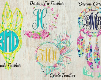 Lilly Pulitzer Inspired Feather Monogram, Truck Decal, Car Decal, Yeti Decal, Bottle Decal, Window Decal, Laptop Decal, Phone Decal