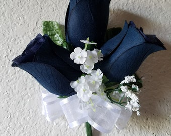 Navy Blue Rose Bud Baby's Breath Shoulder/Wrist Corsage or Boutonniere