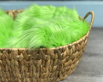 "Lime Green Soft Mongolian Faux Fur, 2"" Pile Newborn Cuddly Faux Fur Nest Newborn,Baby Posing Photo Prop, Stuffer,PhotoProp Layering blanket."