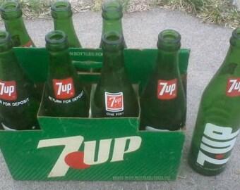 Seven Up Vintage Glass Bottles, Rare 8 Pack, 16 Ounces, 7up, Cardboard Carrier, 1970's-1980's