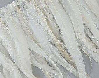 1 Yard Natural White Coque Tail Feather Fringe - FCQW12