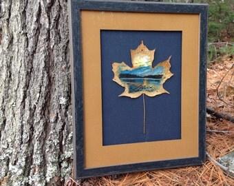 Practicing Formation | Leaf Art | Painting | Maple Leaf | Frame | Natural Canvas |