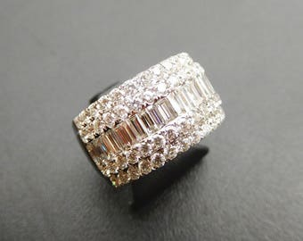 18ct white gold, baguette & brilliant cut diamond dress ring, large diamond cluster, large diamond dress ring, wide diamond wedding ring,