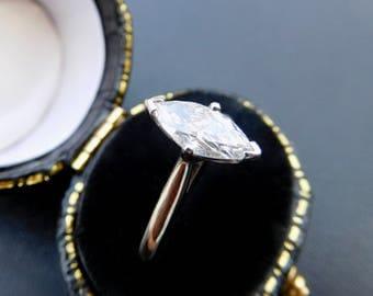 Platinum & solitaire marquise diamond ring, platinum and marquise diamond engagement ring, large marquise diamond ring set in platinum