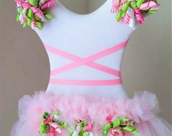 Cute-N-Curly Pink N Green Hair Bow Holder / Wall Decor