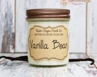 Vanilla Bean Scented Candle, Soy Wax Candle, Scented Candle, Mason Jar Candles, Gifts Under 20, Vanilla Candle, Mother's Day, Candles