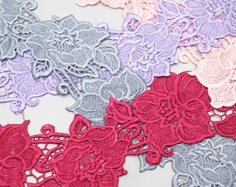 Flower, Lace Trims, Cotton Lace, Embroidery Lace, Applique Embroidery - 1 meter