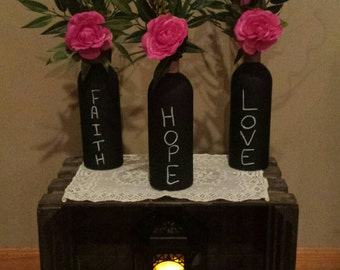 floral centerpieces  table centerpieces, wedding decor, banquet  centerpieces , floral arrangement, reusable chalk bottles, set of 3