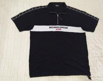 vintage MICHIKO LONDON JEANS polo t shirt colour block size 2L