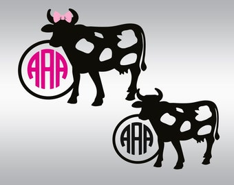 Cow svg, Cow monogram svg, Farmer svg, Farming svg, Country svg, SVG Files, Cricut, Cameo, Cut file, Files, Clipart, Svg, DXF, Png, Pdf, Eps