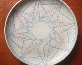 Vintage decorated pottery plate by Jan Twyerould / Australian pottery