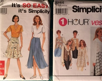 Sizes 6-16 Lot of Two Easy Separates Sewing Patterns