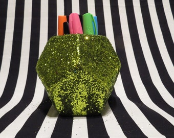 FREE SHIPPING - Lime Green Glitter Geometric Planter/Pencil Cup
